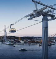 Till Göteborg 400-årsjubileum 2021 planeras det för en linbana mellan Järntorget och Wieselgrensplatsen. Göteborgs Stad / TT NYHETSBYRÅN