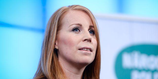 Annie Lööf under torsdagens pressträff. Henrik Montgomery/TT / TT NYHETSBYRÅN