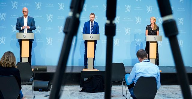 Bild från pressträffen Lise Åserud / TT NYHETSBYRÅN