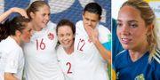 Kanada, Christine Sinclair längst till höger/Elin Rubensson. Bildbyrån