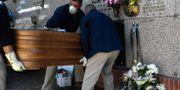 Begravning i Madrid. OSCAR DEL POZO / TT NYHETSBYRÅN