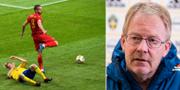 George Puscas under förra mötet med Sverige/Rumänienscouten Lasse Jacobsson. Bildbyrån