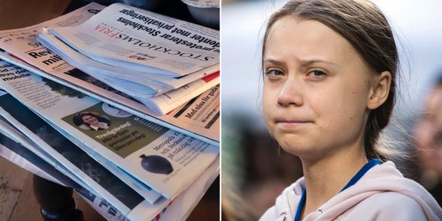 Dagstidningar och Greta Thunberg.  TT