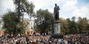 Protester i Moskva 31 augusti. Pavel Golovkin / TT NYHETSBYRÅN