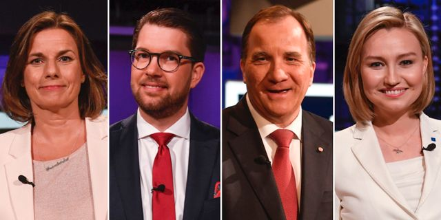 Isabella lövin (MP), Jimmie Åkesson (SD), Stefan Löfven (S) och Ebba Busch Thor (KD) TT.