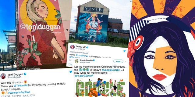 Bilder från några av de platser i Storbritannien där konstnärer avbildat fotbollsspelare