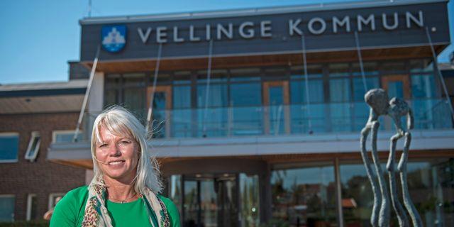 Kommunstyrelsens ordförande Carina Wutzler (M) i Vellinge kommun.  Björn Lindgren /TT / TT NYHETSBYRÅN