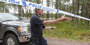 Polisavspärrning vid Orsa Rovdjurspark efter björnattacken. Ulf Palm/TT / TT NYHETSBYRÅN
