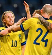 Emil Forsberg under lördagens match.  SIMON HASTEGÅRD / BILDBYRÅN