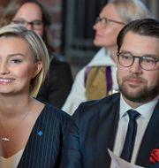 Ebba Busch och Jimmie Åkesson vid riksmötets öppnande 2018. Janerik Henriksson/TT / TT NYHETSBYRÅN