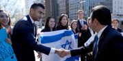 Guatemalas president Jimmy Morales hälsar på israeler i Washington DC. HANDOUT / TT NYHETSBYRÅN
