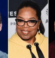 "Facebookgrundaren Mark Zuckerberg, tv-profilen Oprah Winfrey, skådespelaren Dwayne ""The Rock"" Johnson.  TT"