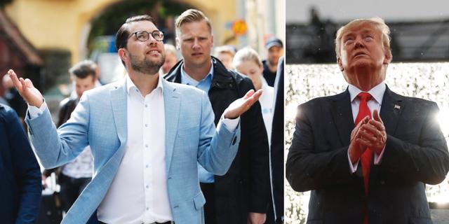Jimmie Åkesson och Donald Trump. TT