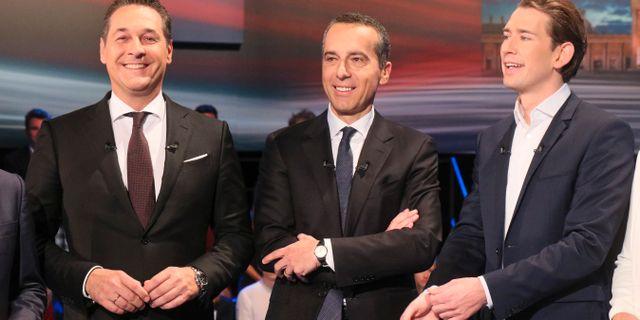 Heinz-Christian Strache (FPÖ), Christian Kern (SPÖ) och Sebastian Kurz.  Ronald Zak / TT NYHETSBYRÅN