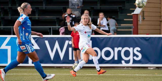 Rosengårds Fiona Brown gör 10-0. Johan Nilsson/TT / TT NYHETSBYRÅN