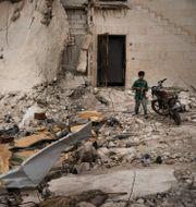 Bild från syriska Idlib.  Felipe Dana / TT NYHETSBYRÅN