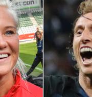 Pernille Harder och Luka Modric har chans att vinna. TT