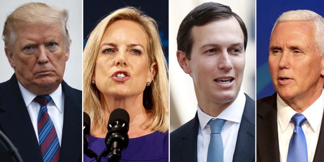 Donald Trump, Kirstjen Nielsen, Jared Kushner och Mike Pence.  TT