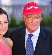 Niki Lauda och hustrun Birgit, 2013. CARL COURT / AFP