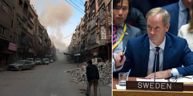 Östra Ghouta på fredagen (t v), Sveriges FN-ambassadör Olof Skoog (t h). TT
