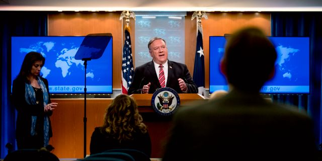 Utrikesminister Mike Pompeo under en presskonferens. Andrew Harnik / TT NYHETSBYRÅN