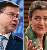 Valdis Dombrovskis, Margrethe Vestager och Elisa Ferreira. TT