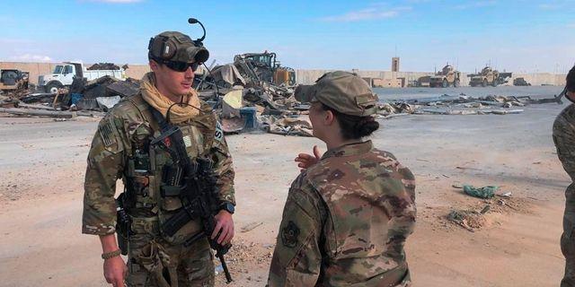 Amerikanska soldater på al-Assad-basen efter angreppet. Qassim Abdul-Zahra / TT NYHETSBYRÅN
