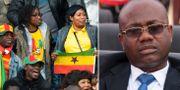 Fotbollsfans och tidigare ordförande i Ghanas fotbollsförbund Kwesi Nyantakyi.  Bildbyrån.