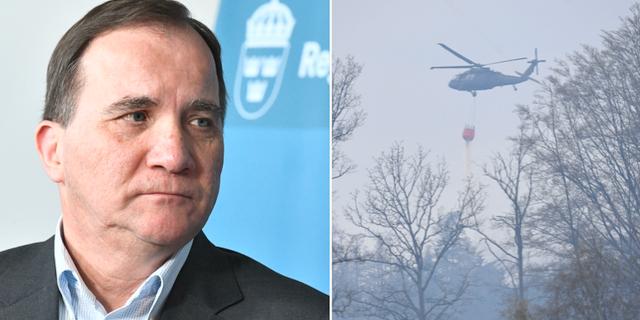 Till vänster: Stefan Löfven. Till Höger: släckningsarbetet pågår efter skogsbranden i Hästveda.  TT