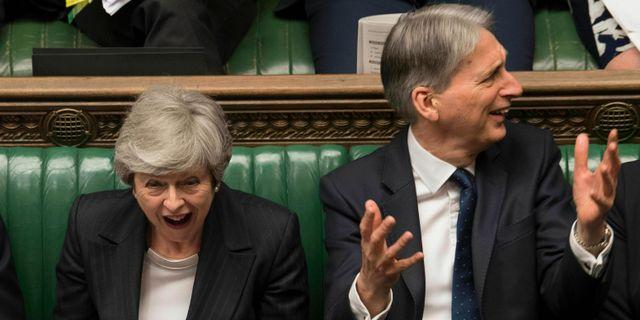 Avgående premiärminister Theresa May och finansminister Philip Hammond.  Mark Duffy / TT NYHETSBYRÅN/ NTB Scanpix