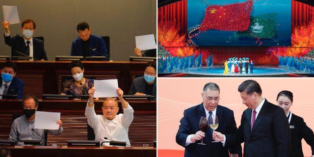 Vänster: Prodemokratiska politiker protesterar när den nya säkerhetslagen diskuteras i Hongkong. Höger: Bilder från 20-årsfirandet av Macaos återförening med Kina TT