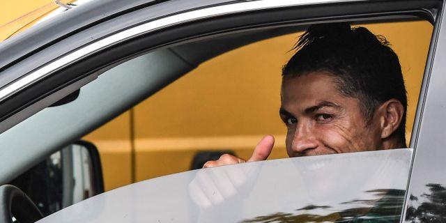 Cristiano Ronaldo på tisdagen. MARCO BERTORELLO / TT NYHETSBYRÅN