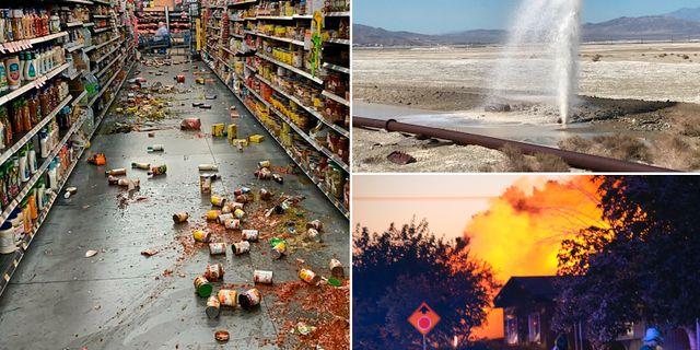 Förödelsen efter jordbävningarna i Kalifornien. TT