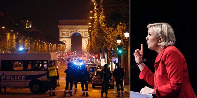 Bild från attentatsplatsen och Nationella Frontens partiledare Marine Le Pen. TT