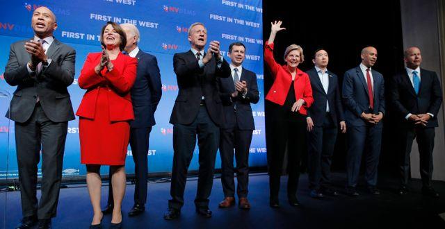 Demokraternas kandidataspiranter till presidentposten. John Locher / TT NYHETSBYRÅN