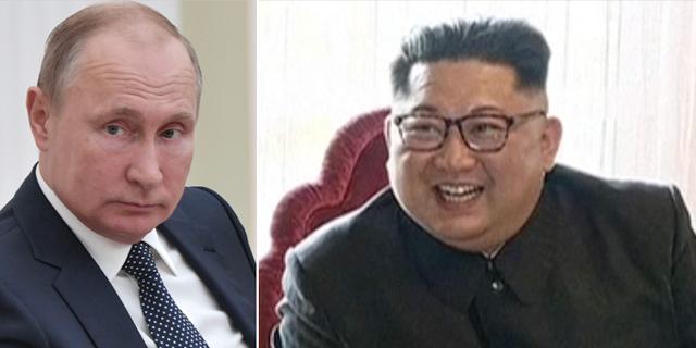 Vladimir Putin och Kim Jong-Un. TT