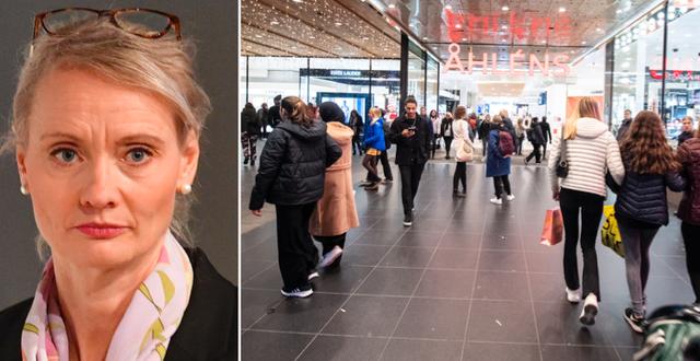Folkhälsomyndighetens Karin Tegmark Wisell/trängsel på köpcentrum. TT