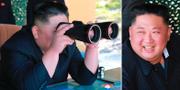 Bilder som Nordkoreas regering har släppt på Kim Jong-Un från testskjutningen. TT