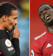 Liverpools Virgil van Dijk och Manchester Uniteds Paul Pogba. Bildbyrån