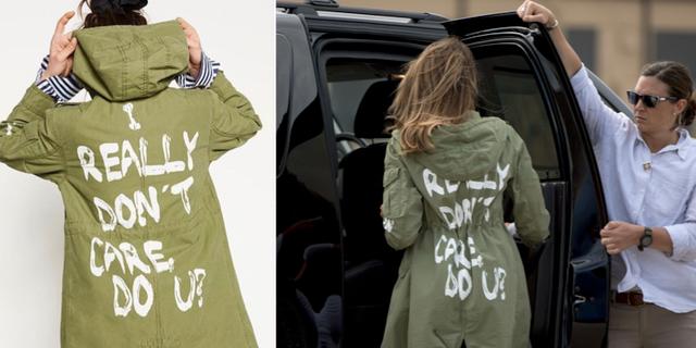 Melania Trump sågs i jackan när hon gick ombord planet till gränsen.  Zara / TT