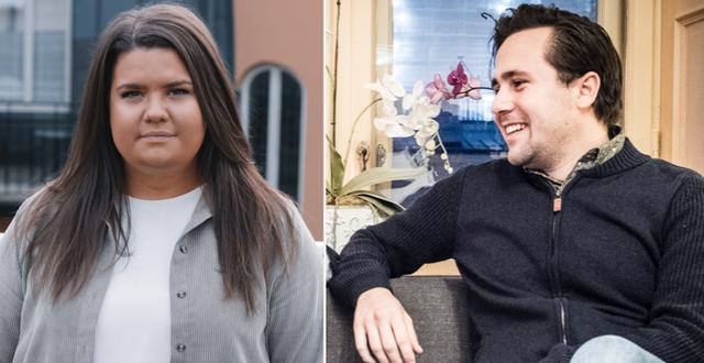 Matilda Ekeblad och Benjamin Dousa. Klara Söderberg/Moderata ungdomsförbundet / TT NYHETSBYRÅN