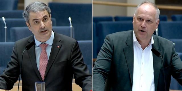 Baylan och Sjöstedt under dagens debatt. SVT