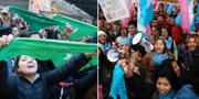 Demonstranter för och emot abortförbundet utanför kongressen. TT