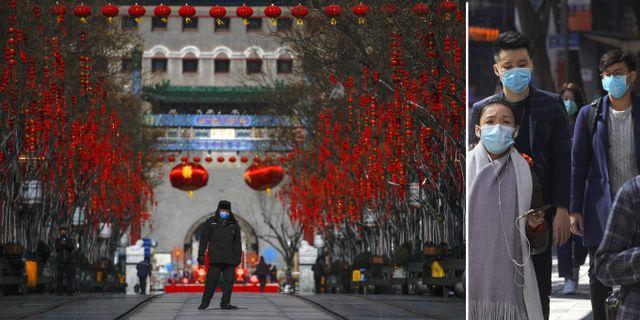 UD avråder nu svenskar från att resa till Kina på grund av coronaviruset.  Andy Wong/Vincent Yu/TT NYHETSBYRÅN