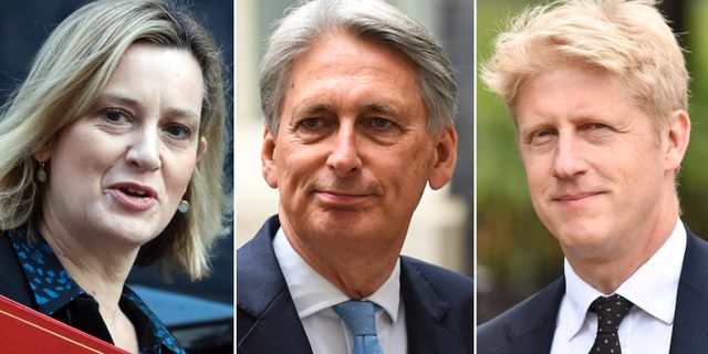 Amber Rudd, Philip Hammond och Jo Johnson. Tre personer som Boris Johnson fått emot sig i brexitarbetet. TT