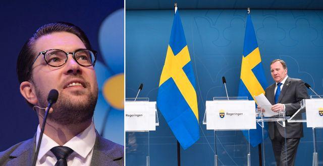 Jimie Åkesson (SD)/statsminister Stefan Löfven. TT