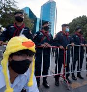 Bild från dagens protester / Thailändska kungaparet. TT