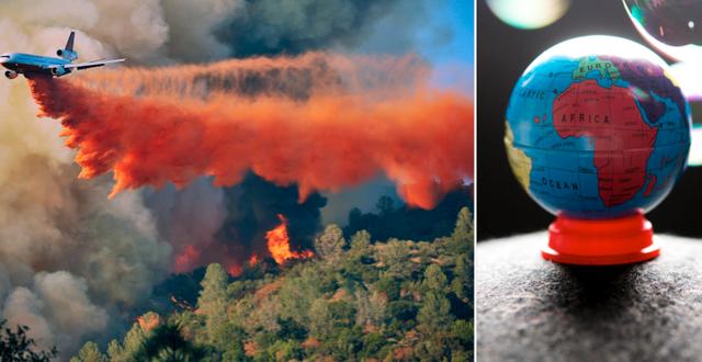 Ett flygplan deltar i släckningsarbetet av en skogsbrand i Kalifornien/illustrationsbild av en jordglob. TT