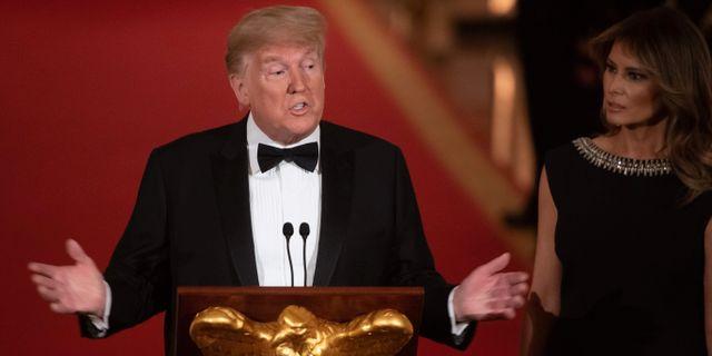 Trump och USA:s första dam Melania.  SAUL LOEB / AFP