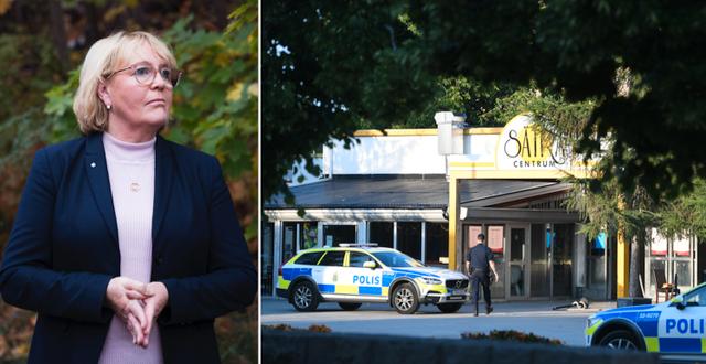 Irene Svenonius (M)/Polisinsats i Sätra i Stockholm efter en skjutning tidigare i sommar. TT